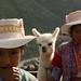 Meninas trajadas e sua pequena lhama - Chivay