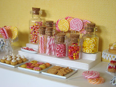 Candy Table Update (PetitPlat - Stephanie Kilgast) Tags: pink red orange cookies yellow candy small polymerclay donut pastry biscuits lollipop dollhouse candyjar dollshouse candyshop sthonor miniaturefood oneinchscale petitplat stephaniekilgast