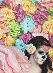 Sugar Skulls, Paper Flowers; Chasing Light, The Golden Hour (Brandon Christopher Warren) Tags: pink flowers summer orange green love beautiful fashion mom skull amazing eyes pastel cyan makeup sugar diadelosmuertos production portfolio facepaint yellowgreen sugarskull thegoldenhour brandonwarren eos5dmarkii brandonchristopherwarren calilowdermilk