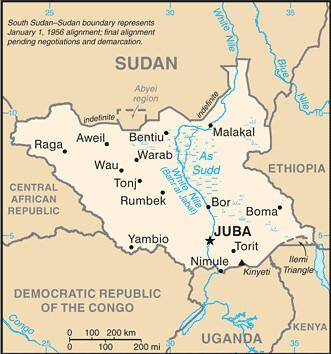 carte du Soudan du Sud