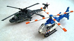 Dutch helicopters (Mad physicist) Tags: lego police helicopter lynx ec135 politie koninklijkemarine sh14d