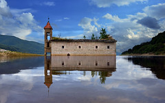 Abandoned Church (Rilind Hoxha) Tags: sky reflection abandoned church water save3 save7 save8 delete save save2 save9 macedonia save4 save5 save10 save6 flooded mavrovo save11 save12 savedbythehotboxgroup blueskyperfectamazingnikond7000splendid500px18mmnikon1855mm35frilindhoxhaphotoshopperfectreflectioncalmquietlovely