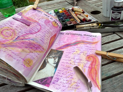 Journaling at the garden table