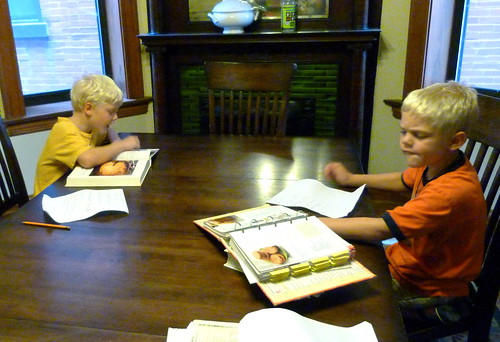 Boys planning their menus