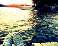 Sunset by the Lake (Cameron Neader) Tags: sunset lake water boat dock shoes gritty