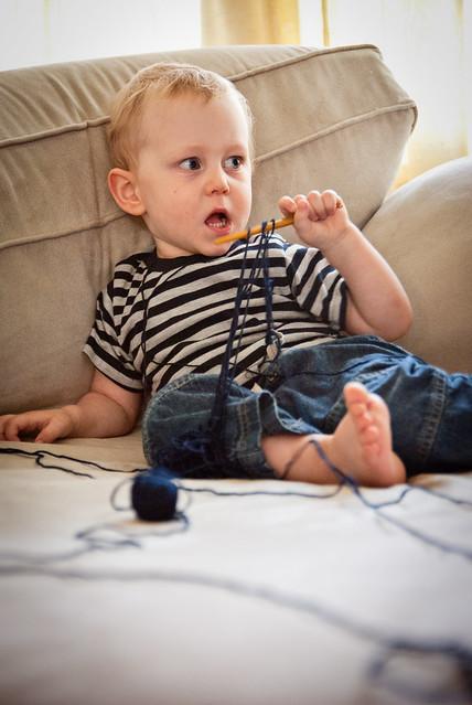 I'm knitting, mommy.