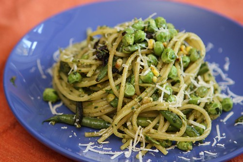Spaghetti with Grilled Vegetables, Fresh Peas, and Pesto