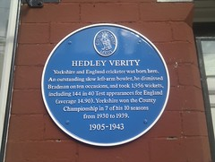 Photo of Hedley Verity blue plaque