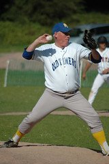 Old Timers reliever Tony Smyth