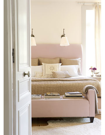 Smith Hanes pink beige bedroom