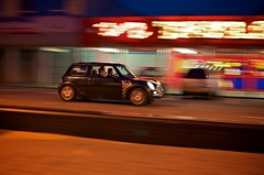 Mini Fun (4oClock) Tags: longexposure night dark nikon july sigma mini seven bmw panning cleethorpes newmini boyracer 2011 d90 sigma30mm mini7 taylormadefun