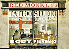 red monkey (Harry Halibut) Tags: road street red white english window shop tattoo studio chairs body daniel flag sheffield cleveland hill images piercing fox re parlour allrightsreserved dmonkey colourbysoftwarelaziness imagesofsheffield 2011andrewpettigrew sheff110724s073