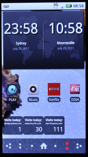 My Droid2Global, with a frankly pretty boring screen of widgets. But still, I can swipe, glance and tell time in a couple places when brain addled. Why swipe, find, click, wait then read?