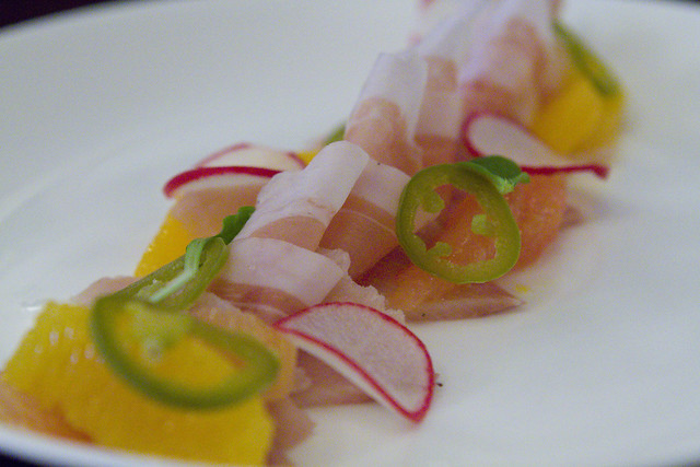 Yellowtail, grapefruit, prosciutto