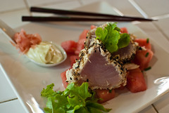 Seared tuna and watermelon salad