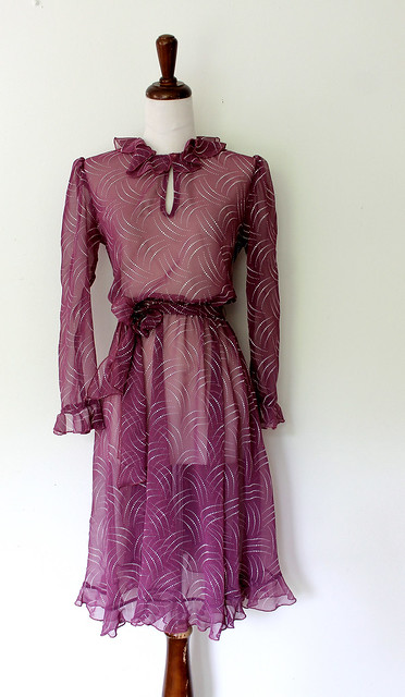 Shooting Dots Sheer Ruffled Violet Dress, vintage 1970s