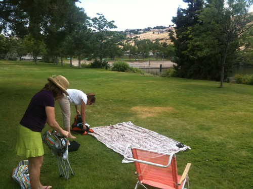 Setting up for a picnic