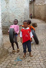 Kids Playing with Tyres, Harar, Eastern Ethiopia