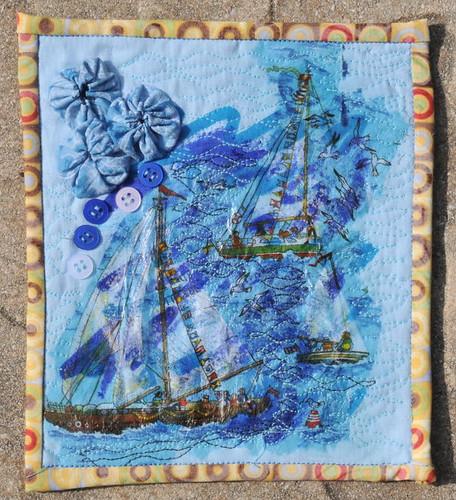 Journal Quilt 04: Blau - Boote