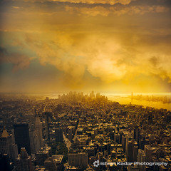 Gold City (fesign) Tags: city nyc newyorkcity sunset urban clouds skyscraper landscape cityscape manhattan unitedstatesofamerica statueofliberty flatironbuilding viewfromtheempirestatebuilding idream