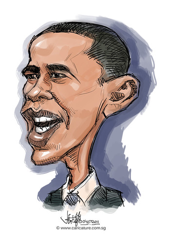 digital caricature colour sketch of Barack Obama