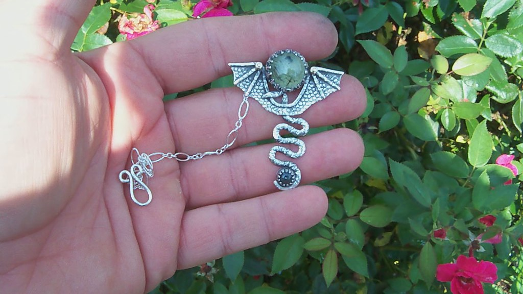 Manannán mac Lir  Talismans of self&Mediation  with Prehnite and sapphire set in forged sterling silver and 14k gold accent .