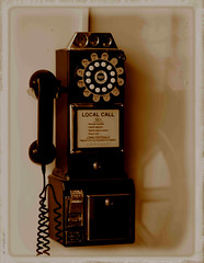 0005342 (Shakies Buddy) Tags: old sepia call dial payphone dime 100views 1957 rotary crosley allrightsreserved 3slotstylepayphone