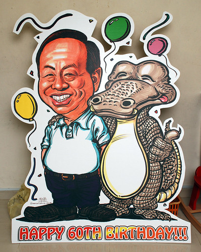 Caricature for Heng Long with crocodile printed on mobile standee 2