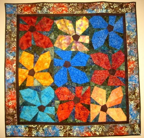 "Handcrafted Batik Quilt Wall Hanging ""Floral Bouquet"""