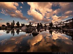 Early Bright Melange (Goldpaint Photography) Tags: california sunset lake reflection clouds pond wilderness sierranevada johnmuirtrail pacifccresttrail