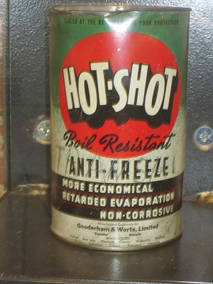Anti freeze can in the historical distillery district  Hot Shot anti freeze can on display in one of the buildings in the distillery district in Toronto. It makes me think of the lean manufacturing and process manufacturing and the differences today.
