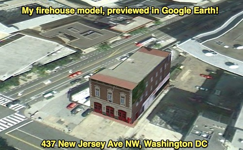 My firehouse model, previewed in Google Earth!