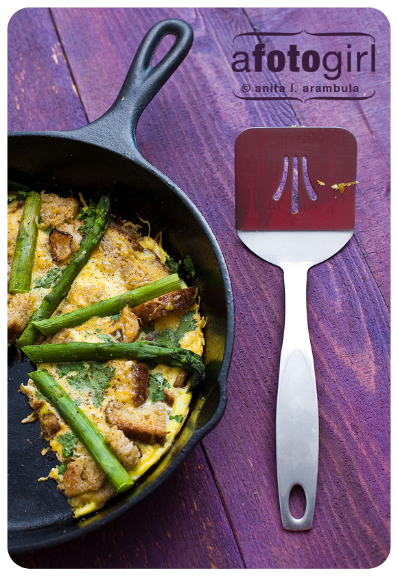 Asparagus Spinach and Crouton Frittata