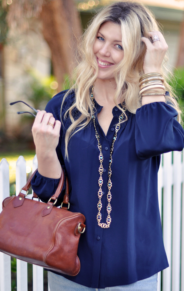 Navy blouse with vintage bag  +  jewelry