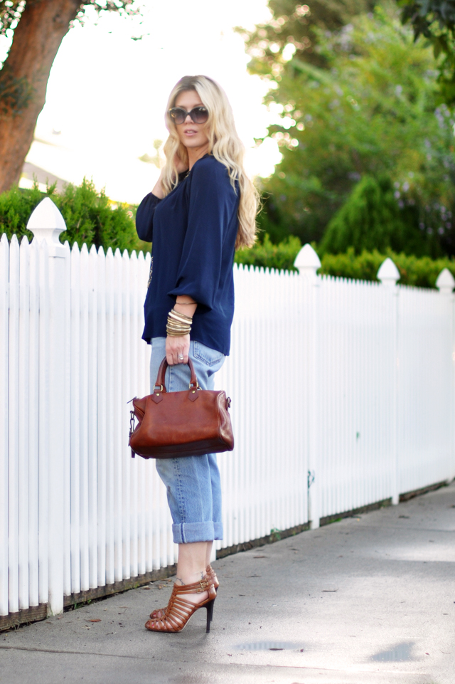 vintage levi jeans - jigsaw london blouse-cognac bag and shoes