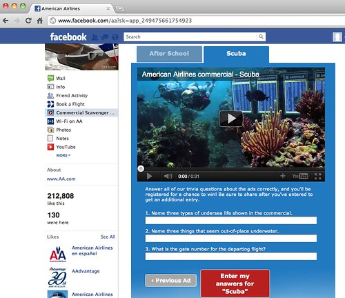 Screenshot of American Airlines Facebook Page