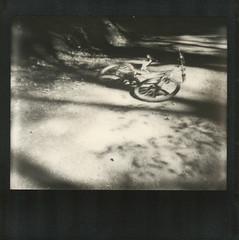 Crash & Burn (~ Meredith ~) Tags: uk bw abandoned bicycle track crash path burn tip polaroidspectra rochdale healeydell pz600