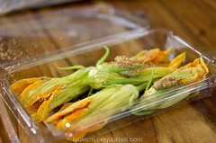 courgette flowers stuffed with mushroom mousse