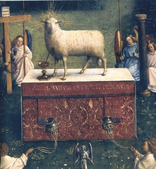 Ghent Altarpiece (detail) (Ellis Art History) Tags: light red detail religious worship cross panel box angels oil lamb vaneyck janvaneyck flemish ghent 15thcentury altarpiece saintbavocathedral ghentaltarpiece northernrenaissance hubertvaneyck ellisarthistory
