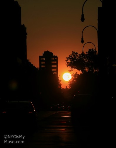 Manhattanhenge in the distance From 14th Street July 12, 2011