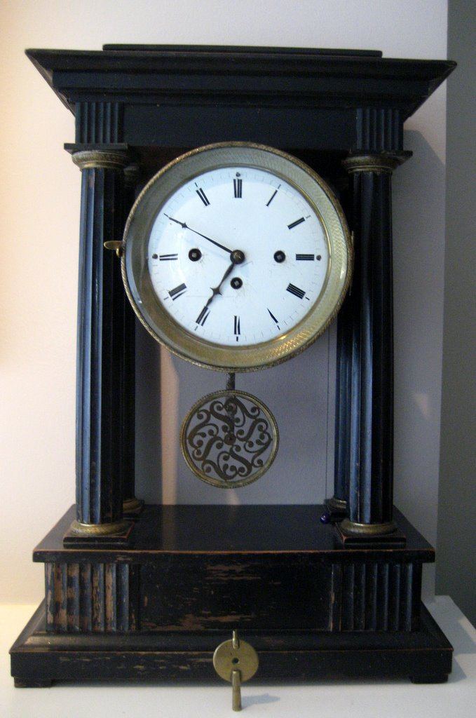 Biedermeier Mantel Striking Portico Clock