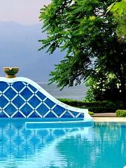 Pool-side (markb120) Tags: blue reflection tree green water pool greece ellada kamena vourla