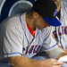 David Wright studies the scouting reports