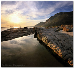 Scarborough Rock Pool (Panorama Paul) Tags: sunset bravo capepoint rockpool scarboroughbeach nohdr sigmalenses wavesplash nikfilters vertorama nikond300 wwwpaulbruinscoza paulbruinsphotography