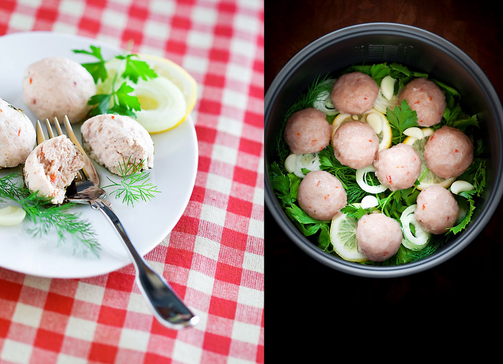 Chicken meatballs sautéed with herbs, lemon, onion and garlic