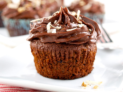 Chocolate Italian Wedding Cupcakes with Chocolate Sour Cream Frosting