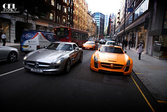 SLS + Lambo = FAB? *Explored* #12 - July 12 2011 (celsydney) Tags: uk fab orange london mercedes benz design unitedkingdom cel knightsbridge lamborghini matte sls amg murcielago arabs sloane fabdesign carspotting sloanestreet lp640 gullstream celsydney