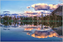 Flower Lake, High California Sierra (Elena .) Tags: park sunset usa beautiful america reflections john landscape high loop hiking lakes pass canyon sierra trail kings alpine national backpacking rae muir kearsarge jmt raelakes raelakes7d