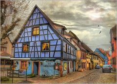 The blue house (Jean-Michel Priaux) Tags: street house france home photoshop painting restaurant hostel village place alsace maison rue hdr pathway auberge colombage patrimoine wow1 routedesvins patrimony bergheim priaux lavandires ancelot lavandiere mygearandme ringexcellence paintingmatte colmbages aubergedeslavandires
