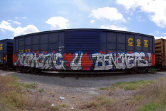 Attracting U Benchers (TRUE 2 DEATH) Tags: railroad streetart art train graffiti lisp pano tag graf trains panoramic railcar spraypaint boxcar railways stitched railfan freight aub freighttrain rollingstock endtoend autopano  flert stitchedpanorama autopanopro stitchted benching spellout freighttraingraffiti 3ek attractingubenchers